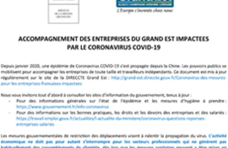 COVID-19 : mesures d'accompagnement des entreprises impactées